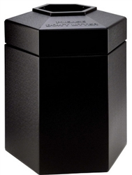 "Black Large 45 Gallon Commercial Trash Can Outdoor Indoor 31"" Tall  Hexagon"