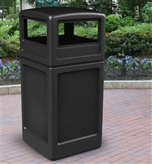 Black 38 Gallon Commercial Outdoor Trash Can