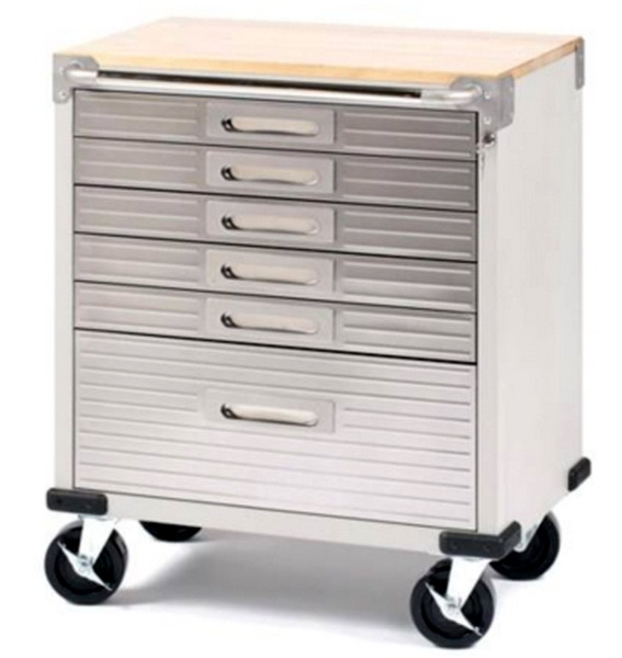 Stainless Steel 6 Drawer Rolling Tool Chest Box Cabinet Wood Top Toolbox