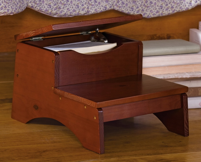 Janet Walnut Finish Wooden Step Bench Stool with Storage Holds 200Lbs