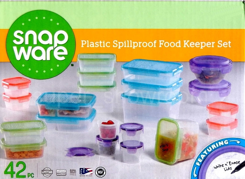 Snapware 42 Piece Plastic Spillproof Stackable Food Containers