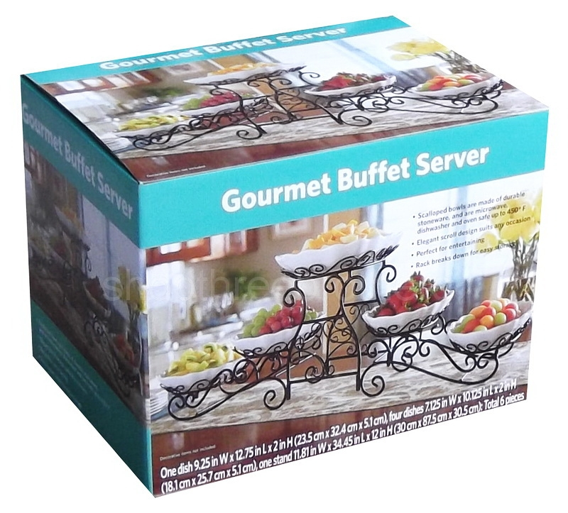 3 tier buffet server 5 stoneware serving dishes wrought iron stand rh shopthreebrothers com tiered gourmet buffet server elite gourmet buffet server