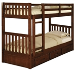 Kids Wooden Twin Size Bunk Bed  With 3 Storage Drawers