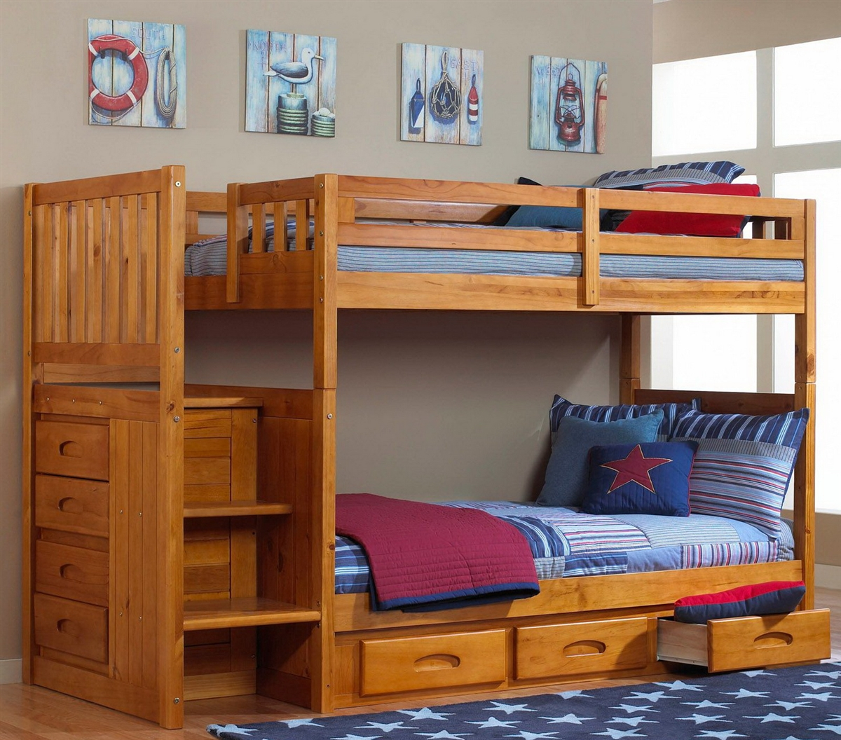 Staircase Twin Bunk Bed with Honey Finish