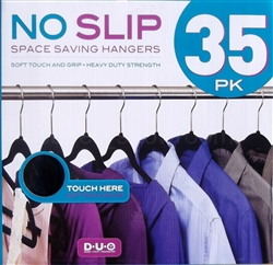 Se of 35 Black Velvet Clothes Hangers