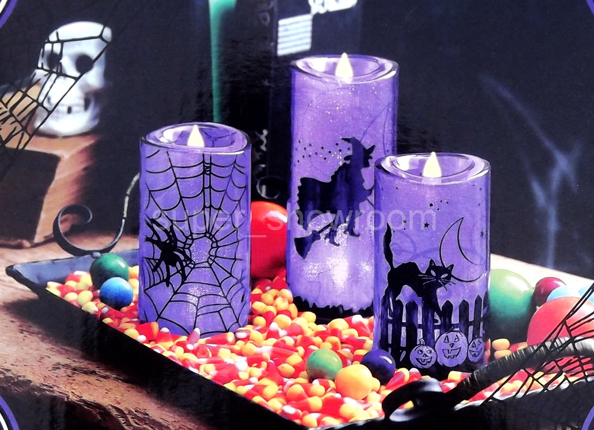 set of 3 halloween decoration purple led candles battery operated