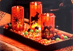 Set of 3 Halloween Decoration Orange LED Candles