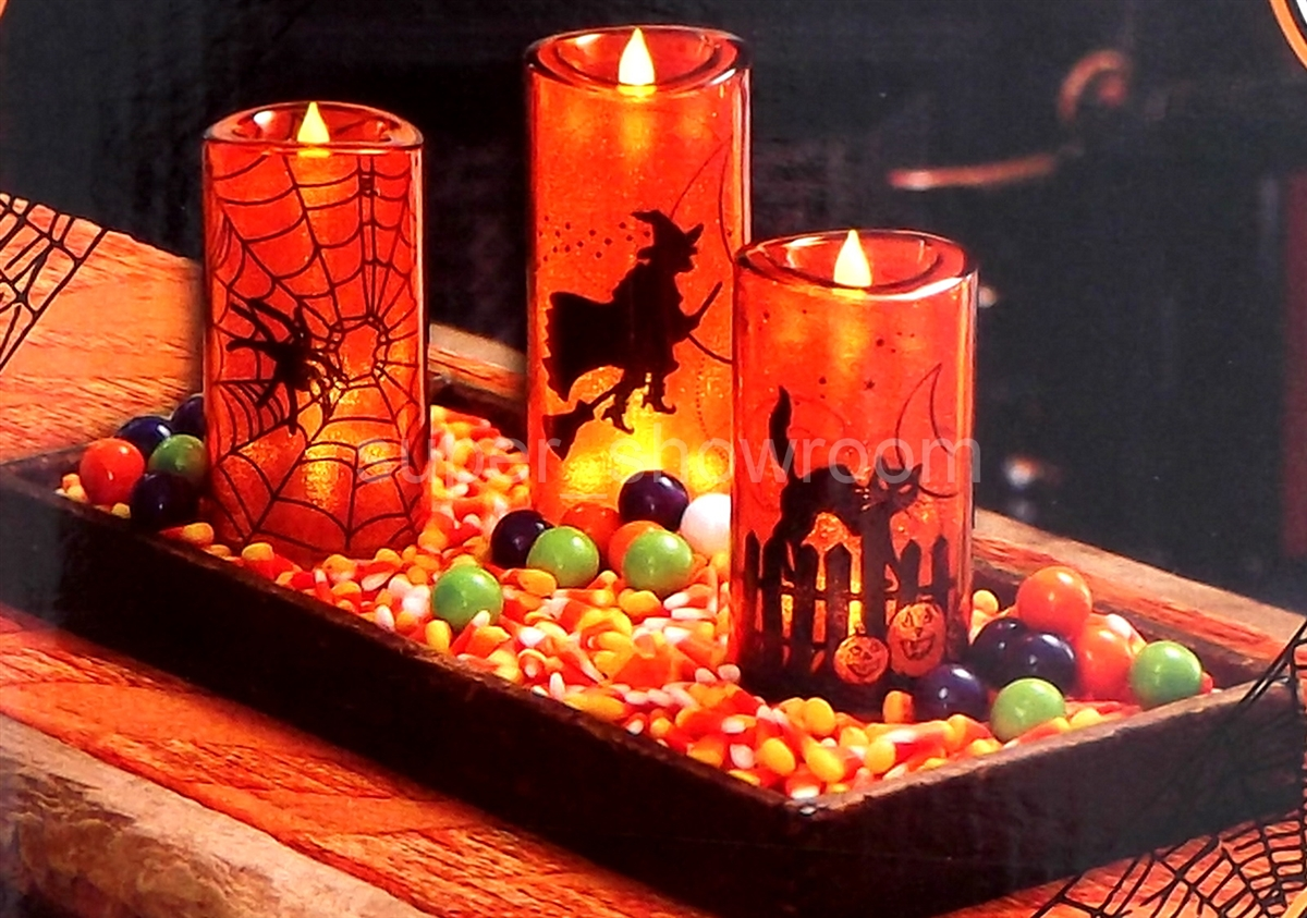 Set Of 3 Halloween Decoration Orange Led Candles Battery Operated