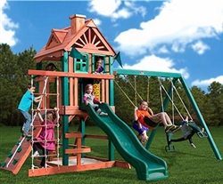 New Gorilla Wood Playground Set With Swings & Slide Rock Wall