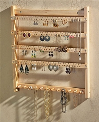 Wooden Wall Hung JEWELRY DISPLAY STORAGE RACK