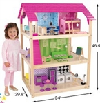 "46"" Wood 3 Level DOLLHOUSE Doll House +45 Furniture"