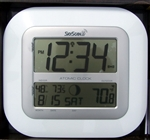 White Atomic Wall Clock & In / Outdoor Thermometer
