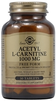 Acetyl L-Carnitine - 1000 mg - 30 Tablets - Solgar