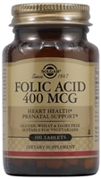 Folic Acid - 400 mcg - 100 Tablets - Solgar