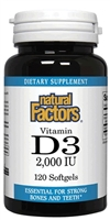 Vitamin D3 2,000 IU - 120 softgels - Natural Factors
