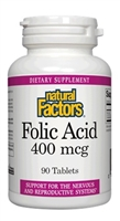 Folic Acid 400 mcg - 90 Tablets - Natural Factors