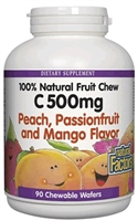 Vitamin C 500mg Peach, Passionfruit, Mango - 90 Chewable Wafers - Natural Factors