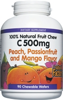 Vitamin C 500mg Peach, Passionfruit, Mango - 180 Chewable Wafers - Natural Factors