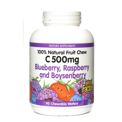 Vitamin C 500mg Blueberry, Raspberry, Boysenberry - 90 Chewable Wafers - Natural Factors