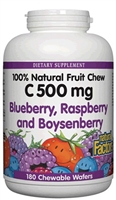 Vitamin C 500mg Blueberry, Raspberry, Boysenberry - 180 Chewable Wafers - Natural Factors