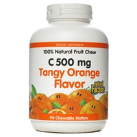 Vitamin C 500mg Tangy Orange - 90 Chewable Wafers - Natural Factors