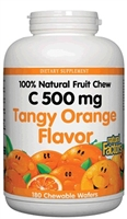 Vitamin C 500mg Tangy Orange - 180 Chewable Wafers - Natural Factors