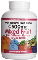 Vitamin C 500mg Mixed Fruit - 90 Chewable Wafers - Natural Factors