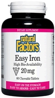 Easy Iron Chewable 20mg - 60 Tabs - Natural Factors