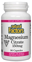 Magnesium Citrate 150mg - 90 Caps - Natural Factors