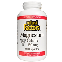 Magnesium Citrate 150mg - 360 Caps - Natural Factors
