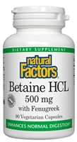 Betaine HCL 500mg - 90 Caps - Natural Factors