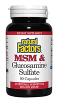 MSM & Glucosamine 500mg/375mg - 90 Caps - Natural Factors
