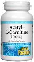 Acetyl-L-Carnitine 1000mg - 60 Veg Caps - Natural Factors