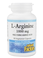 L-Arginine 1000mg - 90 Veg Caps - Natural Factors