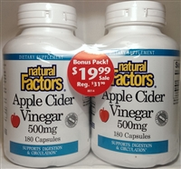 Apple Cider Vinegar - 500mg, 180+180 Caps - Natural Factors