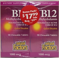 B-12 Methylcobalamin - 1,000mcg 90+90 tablets - Natural Factors