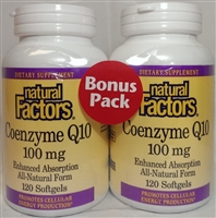 Coenzyme Q10 100mg - 120+120 Softgels - Natural Factors