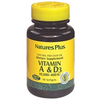 Vitamins A & D3 10,000/400 IU Softgels - 90 Count Bottle (90 Servings) - Natures Plus