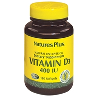 Vitamin D3 400 IU Softgels - 180 Count Bottle (180 Servings) - Natures Plus