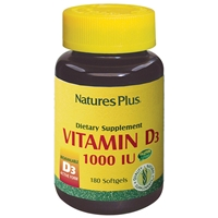 Vitamin D3 1000 IU Softgels - 180 Count Bottle (180 Servings) - Natures Plus