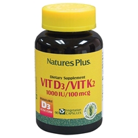 Vitamin D3 1000 IU/Vitamin K2 100 mcg Vcaps - 90 Count Bottle (90 Servings) - Natures Plus