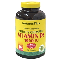 Adult's Chewable Vitamin D3 1000 IU - Maui Berry Burst Flavor - 90 Count Bottle (90 Servings) - Natures Plus