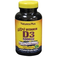 Ultra Vitamin D3 5000 IU with 25 mg Trans-Resveratrol Extended Release Tablets - 90 Count Bottle (90 Servings) - Natures Plus