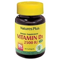 Vitamin D3 2500 IU Softgels - 90 Count Bottle (90 Servings) - Natures Plus
