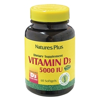 Vitamin D3 5000 IU Softgels - 60 Count Bottle (60 Servings) - Natures Plus