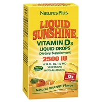 Liquid Sunshine Vitamin D3 2500 IU Liquid Drops - Orange Flavor - 0.34 fl. oz. / 10 ml Bottle (365 Servings) - Natures Plus
