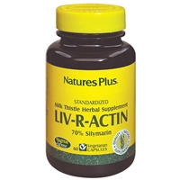 Liv-R-Actin Milk Thistle Vcaps - 60 Count Bottle (30 Servings) & 90 Count Bottle (45 Servings) - Natures Plus