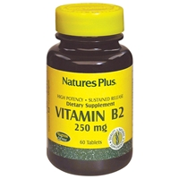 Vitamin B-2 250 mg Sustained Release Tablets - 60 Count Bottle (60 Servings) - Natures Plus