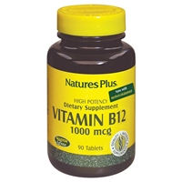 Vitamin B-12 1000 mcg Tablets - 90 Count Bottle (90 Servings) - Natures Plus