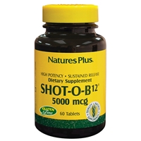 Shot-O-B12 5000 mcg - Sustained Release Tablets - 30 Count Bottle (30 Servings) & 60 Count Bottle (60 Servings) - Natures Plus